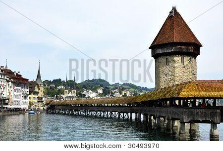 Lucern Switzerland, Old Wooden Bridge View.