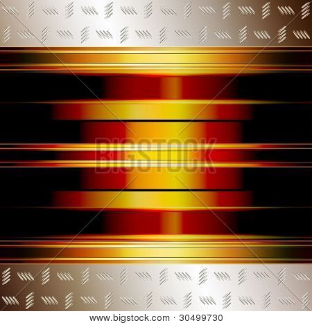 Technology background with golden plates and incandescent core