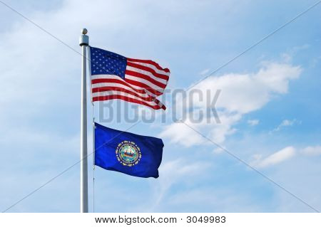 New Hampshire And Us Flag