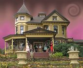 stock photo of victorian houses  - Victorian house decorated for Halloween - JPG