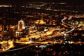 image of virginia  - Night Panorama view of Roanoke Virginia from top of a mountain - JPG