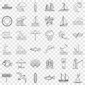 Water Creature Icons Set. Outline Style Of 36 Water Creature Vector Icons For Web For Any Design poster