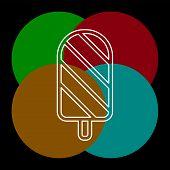 Icecream Icon - Dessert Object - Sweet Summer Icon. Thin Line Pictogram - Outline Editable Stroke poster