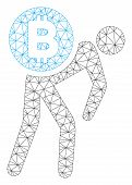 Mesh Bitcoin Courier Man Model Icon. Wire Carcass Polygonal Mesh Of Vector Bitcoin Courier Man Isola poster