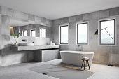 Gray Tile Bathroom Corner, Tub And Sink poster
