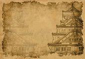 Постер, плакат: Фон с древний японский дом