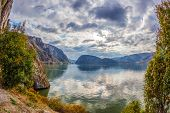 Autumn At The Danube Gorges, The Border Between Romania And Serbia. View From Romanian Part. In The  poster