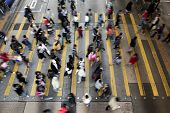 stock photo of pedestrian crossing  - Busy Crossing Street in Hong Kong - JPG