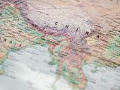 World Map With Focus On Peoples Republic Of China With Capital City Beijing. poster