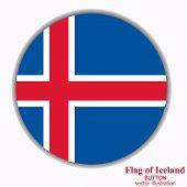 Bright Button With Flag Of Iceland. Happy Iceland Day Button. Button With Flag. Vector Illustration. poster