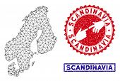 Wire Frame Polygonal Scandinavia Map And Grunge Seal Stamps. Abstract Lines And Dots Form Scandinavi poster