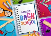 Back To School Vector Concept With Colorful Notebooks And Welcome Back To School Text Written In Whi poster