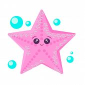 Sea Animal Starfish In Flat Style. Cartoon Starfish Character. Starfish For Summer Design Elements I poster