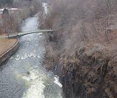 stock photo of crotons  - walking bridge dam in cortlandt ny croton gorge park lake river mountains beautiful - JPG