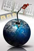 stock photo of high-octane  - Gas hose concept image rising out of a planet - JPG