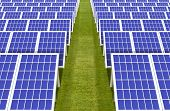 3d Rendering. Electric Energy Generator System, Solar Cells Panels Field Farm Industry On Green Gras poster