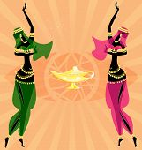 image of seminude  - on abstract background are two oriental girls dancing - JPG