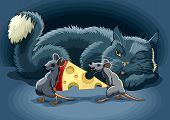 foto of cun  - The Cunning cat keeps a check on mouse with cheese - JPG