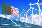 Algeria Solar And Wind Energy, Renewable Energy Concept With Windmills - Renewable Energy Against Gl poster
