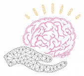 Mesh Brain Education Offer Polygonal Icon Vector Illustration. Model Is Based On Brain Education Off poster