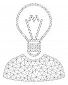 Mesh Bulb Inventor Polygonal Icon Vector Illustration. Abstraction Is Based On Bulb Inventor Flat Ic poster