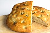 stock photo of flat-bread  - A loaf of fresh baked  Foccacia Bread