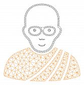 Mesh Buddhist Monk Polygonal Icon Vector Illustration. Carcass Model Is Based On Buddhist Monk Flat  poster