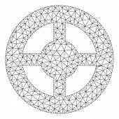 Mesh Brass Blank Wheel Polygonal Icon Vector Illustration. Model Is Based On Brass Blank Wheel Flat  poster