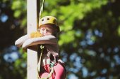 Rope Park. Happy Little Girl Climbing A Tree. Cargo Net Climbing And Hanging Log. Rope Way - Little  poster