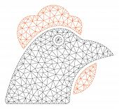 Mesh Chicken Head Polygonal Symbol Vector Illustration. Carcass Model Is Based On Chicken Head Flat  poster
