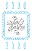 Mesh Chip Cooling Polygonal 2d Vector Illustration. Carcass Model Is Created From Chip Cooling Flat  poster