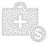 Mesh Commercial Medicine Case Polygonal Symbol Vector Illustration. Carcass Model Is Based On Commer poster