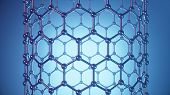 3d Illustration Structure Of The Graphene Tube, Abstract Nanotechnology Hexagonal Geometric Form Clo poster