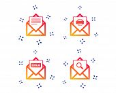Mail Envelope Icons. Print Message Document Symbol. Post Office Letter Signs. Spam Mails And Search  poster