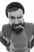 Brutal Unshaven Guy Smoking Isolated White Background. Man Brutal Bearded Hipster Bully Dressed As V poster
