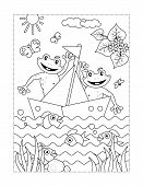 Spring Or Summer Joy Themed Coloring Page With Two Happy Frogs In A Boat poster