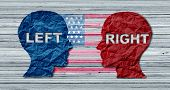 American Election Concept As A United States Politics Election Idea As The Left And Right Wing Repre poster
