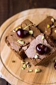 Tasty Homemade Dessert Chocolate Brownie Decorated With Berry And Nuts On Wooden Tray Homemade Desse poster