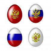 picture of zar  - Easter eggs with Russian flag on a white background - JPG