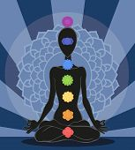 foto of kundalini  - Man silhouette in yoga position with the symbols of seven chakras - JPG