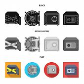 Vector Design Of Safe And Open Sign. Set Of Safe And Container Vector Icon For Stock. poster