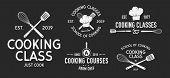 Vector Kitchen Logo Set. 5 Vintage Cooking Class Emblems. Cook And Food Labels, Emblems, Logo. Culin poster