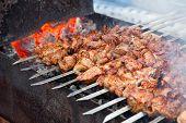 Постер, плакат: Аппетитные свежие мясо шашлык шашлыка подготовлен на гриль древесного угля Outdor