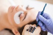 Eyelashes Extensions. Fake Eyelashes. Eyelash Extension Procedure. Professional Stylist Lengthening  poster