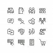 Customer Help Line Icon Set. Delivery, Call Center, Operator. Service Concept. Can Be Used For Topic poster