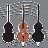Icon Double Bass Musical Instrument String And Silhouette, Vector Image Eps poster