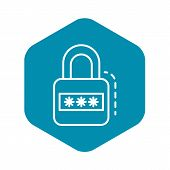 Padlock Icon. Outline Padlock Vector Icon For Web Design Isolated On White Background poster