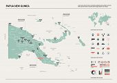Vector Map Of Papua New Guinea. Country Map With Division, Cities And Capital Port Moresby. Politica poster