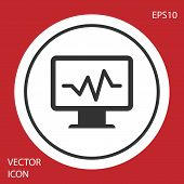 Grey Computer Monitor With Cardiogram Icon Isolated On Red Background. Monitoring Icon. Ecg Monitor  poster