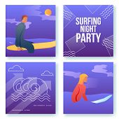 Cartoon Flat Characters Doing Modern Sport Activity, Surfing Night Party Flyer Banner Poster, Web On poster